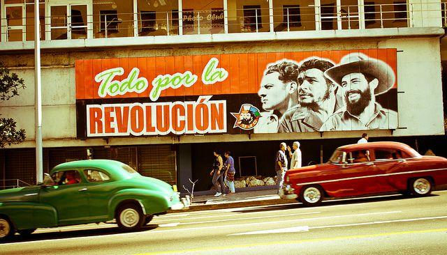 Havana street sign and cars