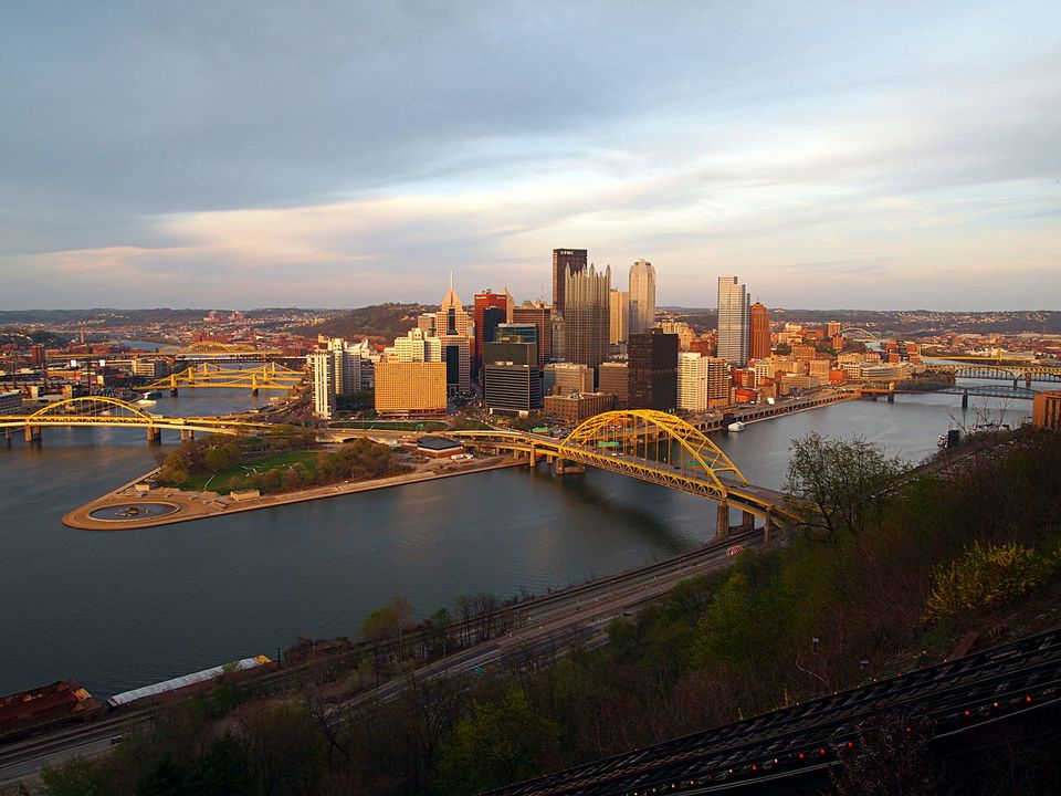 Downtown Pittsburgh skyline from Mt. Washington at the Duquesne Incline overlook platform. The tracks of the Duquesne Incline are in the foreground.