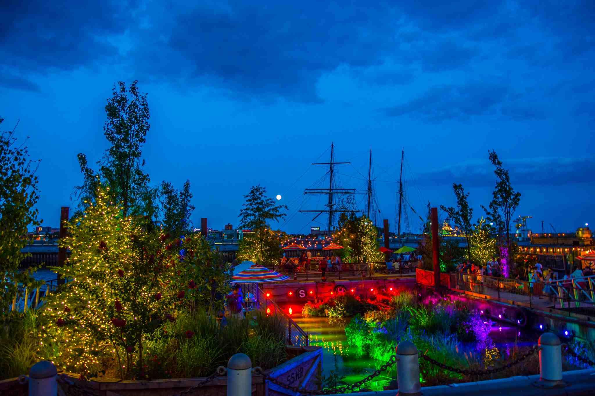 Spruce Street Harbor Park at night