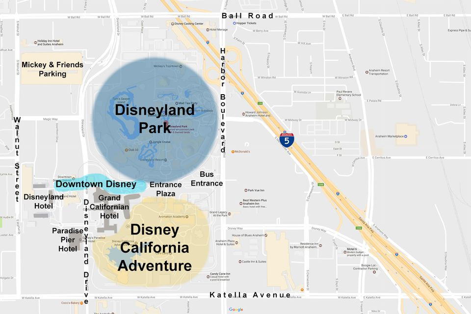 Map of the Disneyland Resort