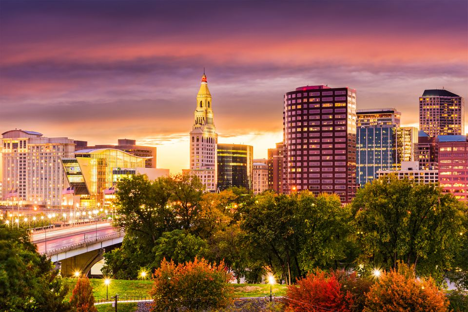 Hartford CT skyline in the Fall at sunset