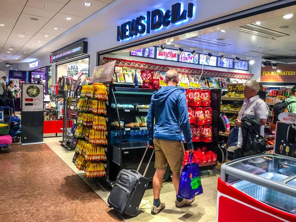 Man shopping at the airport