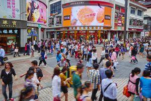 A busy shopping street in Shenzhen, China