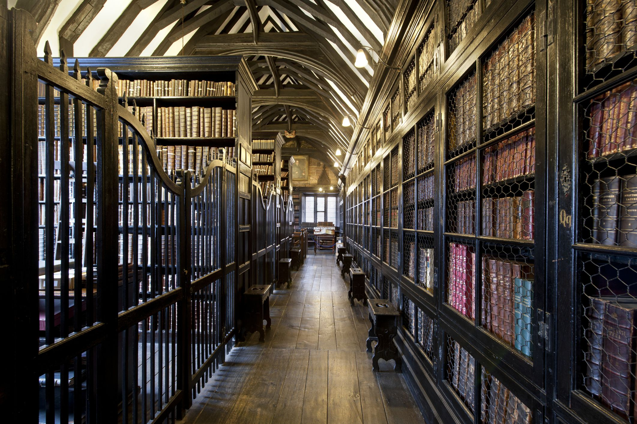 An internal view of Chetham's Library in Manchester.
