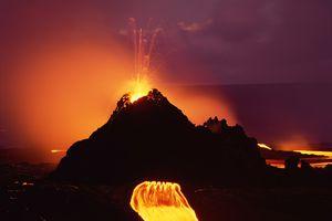 Kilauea Volcano in eruption at night