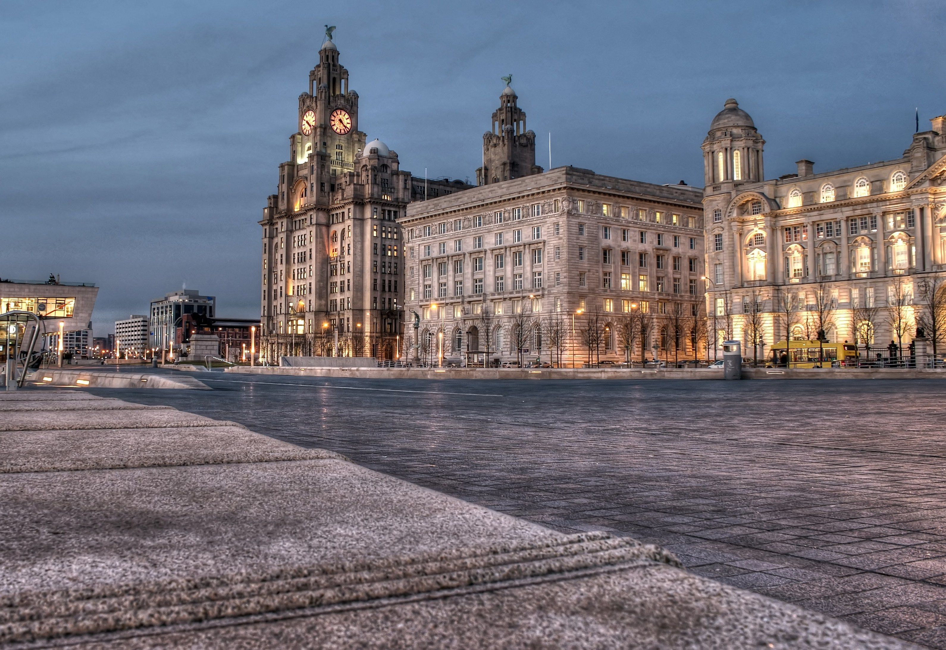 Cunard Building And Port Of Liverpool Building At Dusk