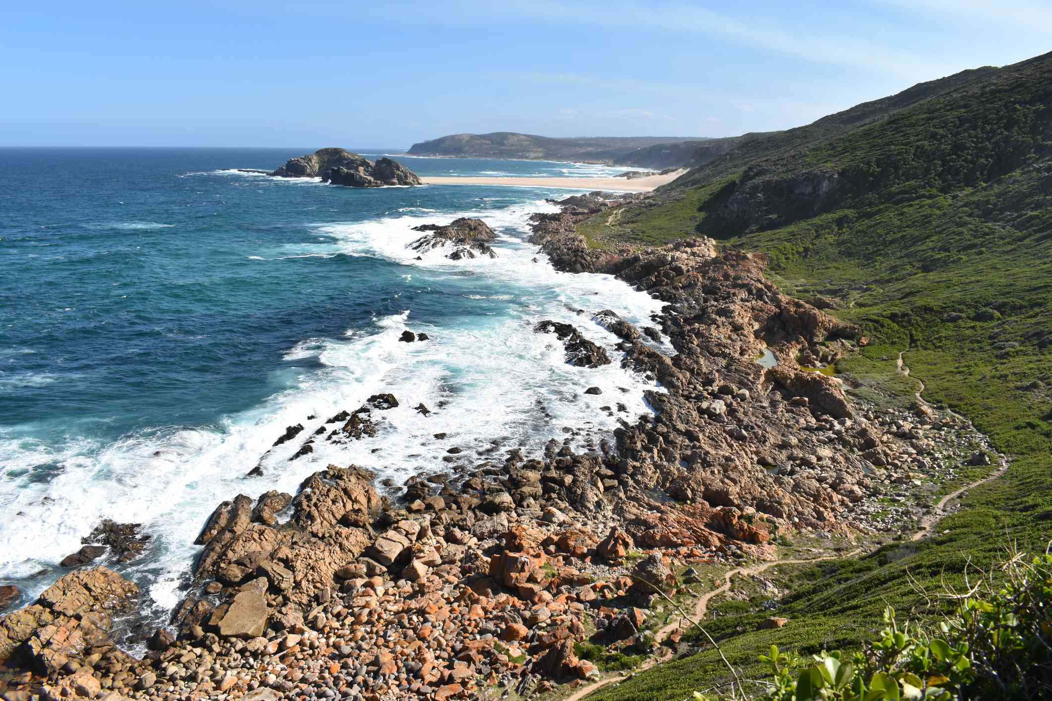 View of hiking trail in Robberg Nature Reserve, South Africa
