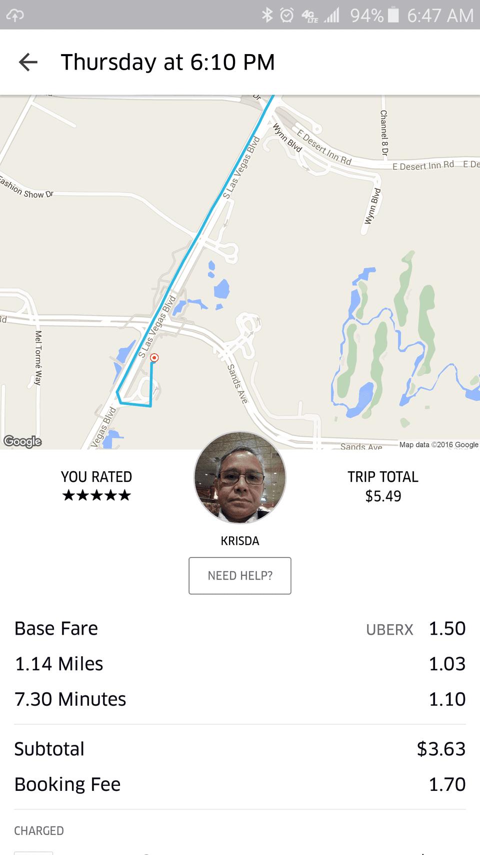 Uber Ride Details