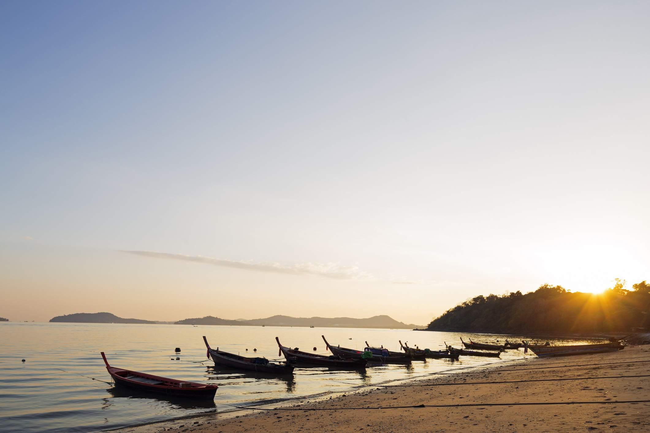 Thailand, Phuket, Scenic landscape with Siray Bay at sunset