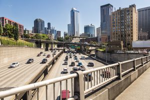 Traffic on a inner city highway in the heart of Seattle downtown district