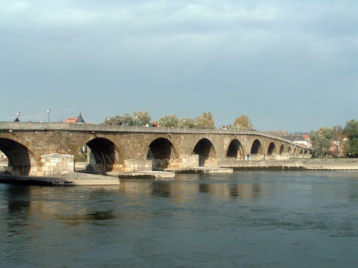 Regensburg Old Stone Bridge over the Danube River