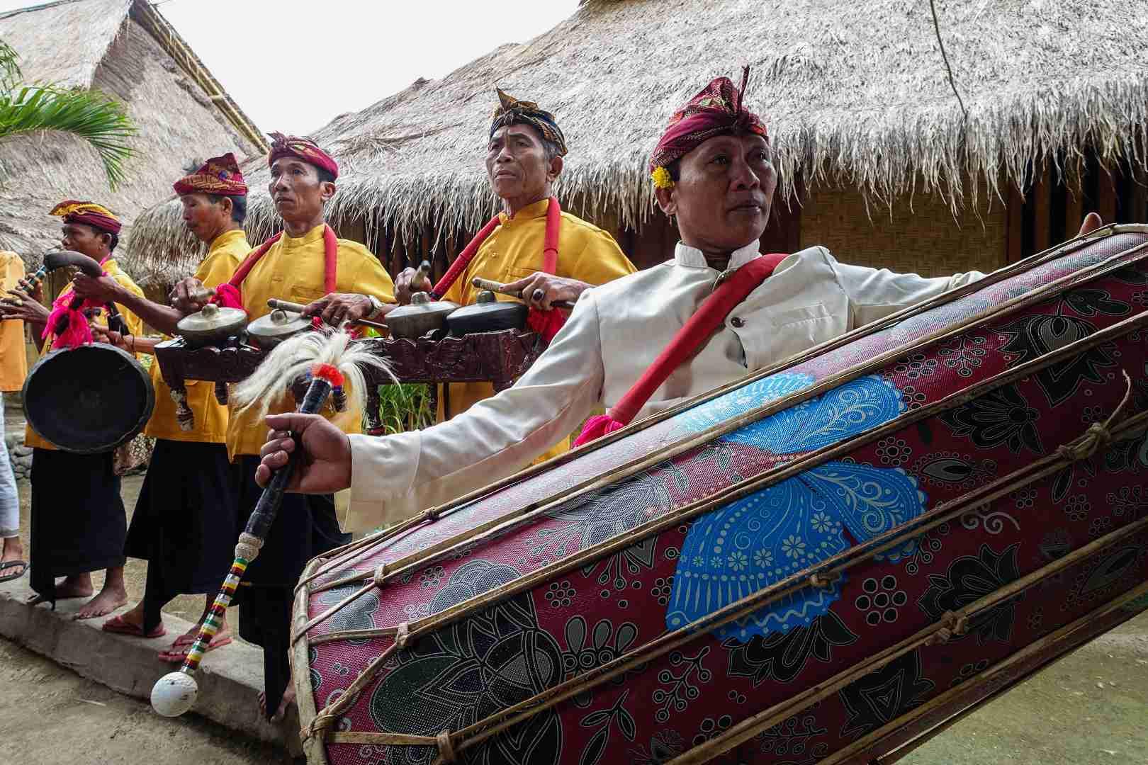 Gendang beleq (big drum) and ensemble at Sasak Sade Village, Lombok