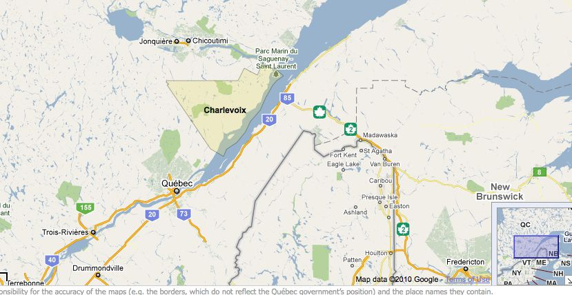 Map La Malbaie Canada Visiting the Charlevoix Region of Quebec