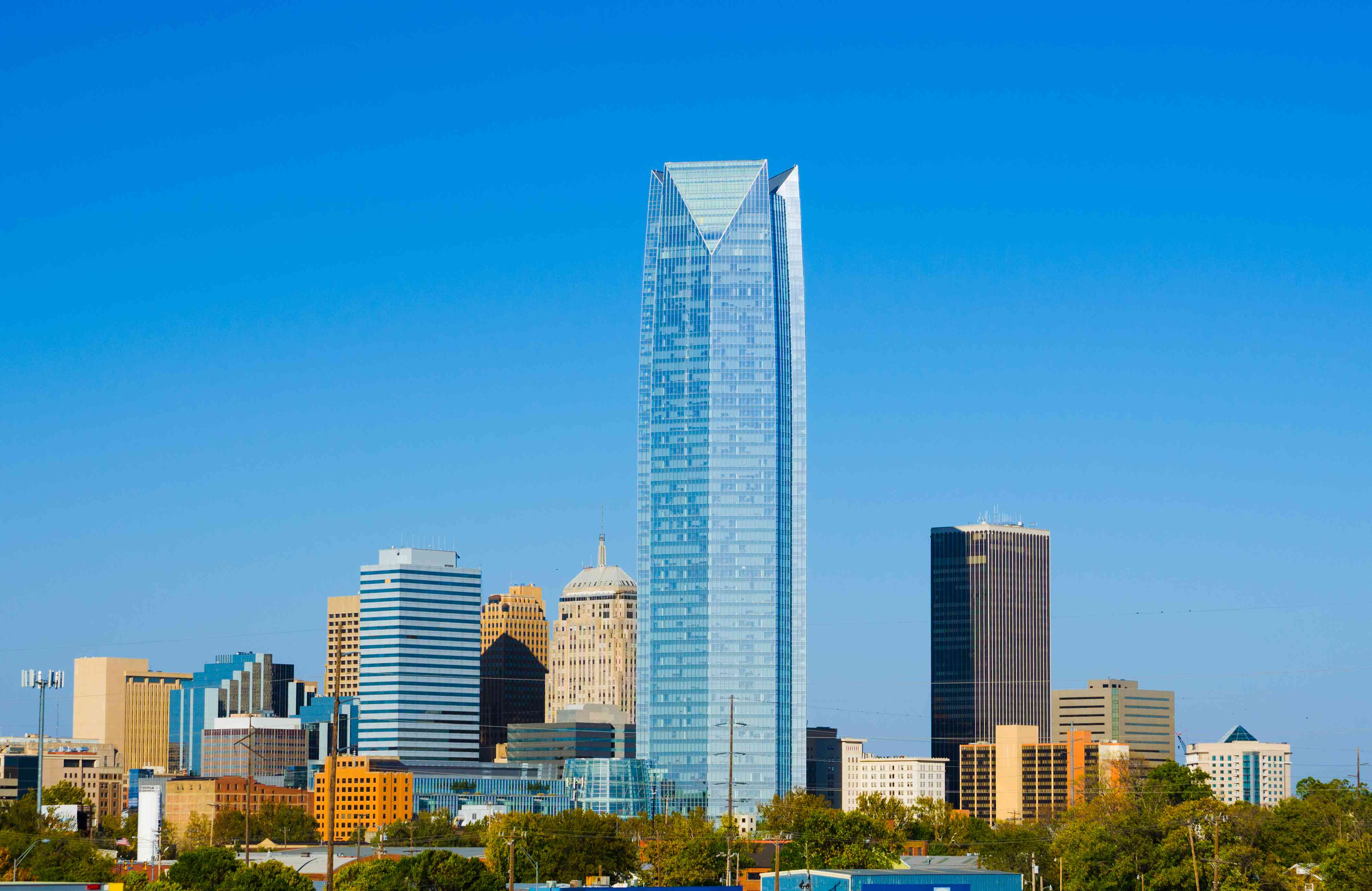 Oklahoma City downtown skyline, featuring the recently constructed Devon Tower.