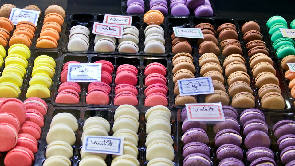 High Angle View Of Various Colorful Macaroons At Shop