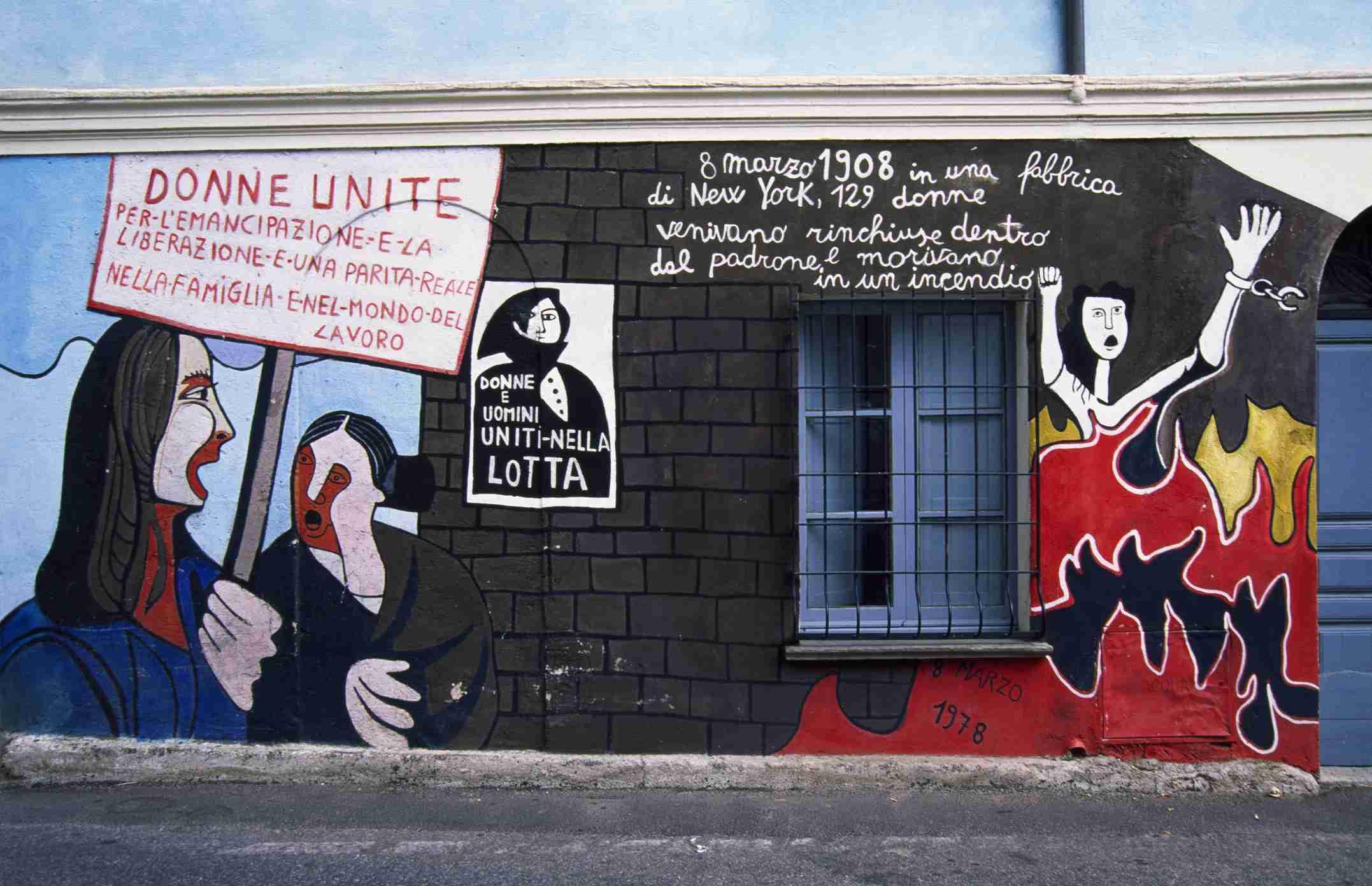 Murals dedicated to womens rights, 1978, Orgosolo, Sardinia, Italy