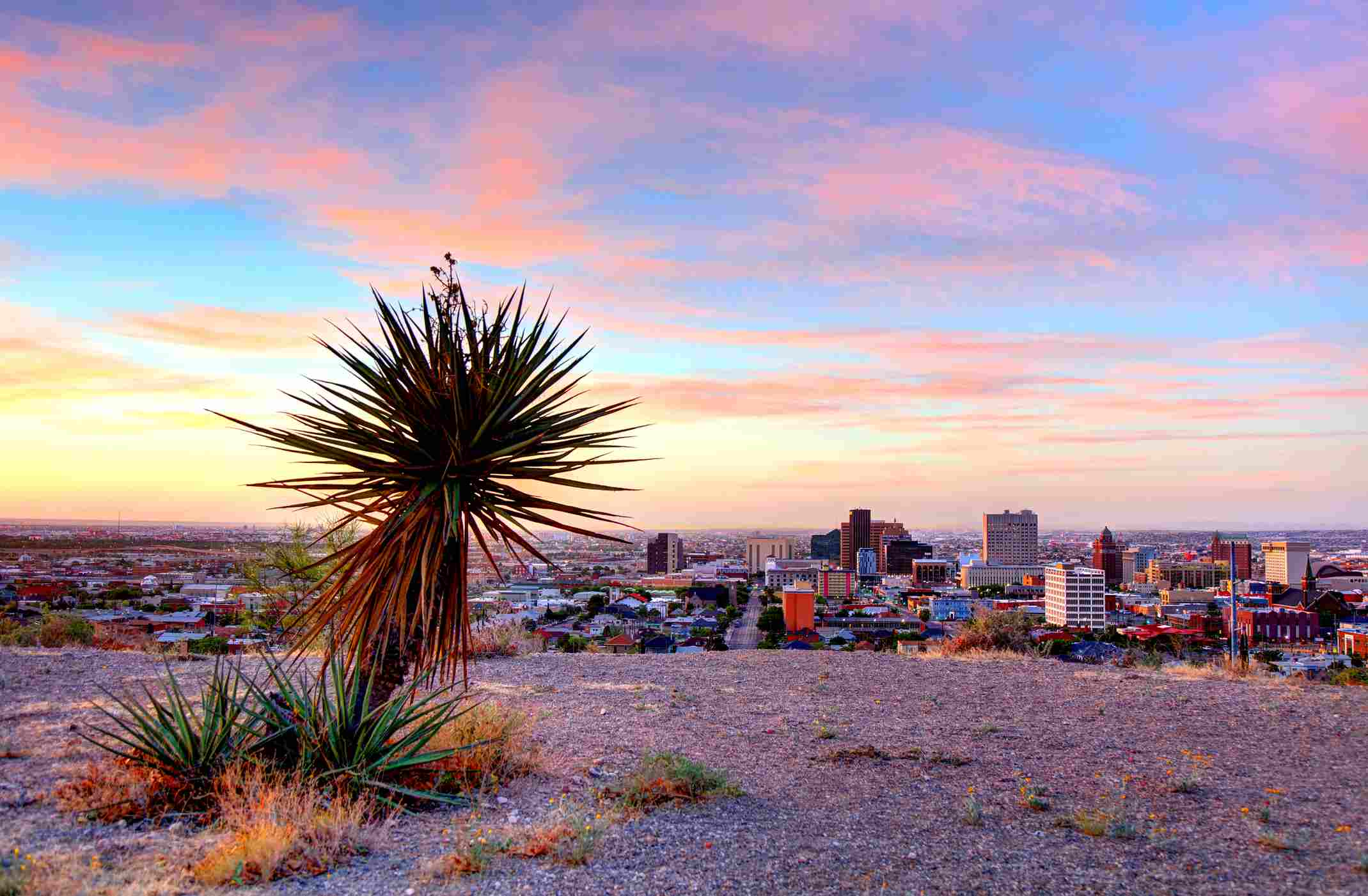 El Paso, Texas as seen from hill overlooking city