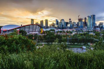Calgary skyline with dramatic cloudy sky