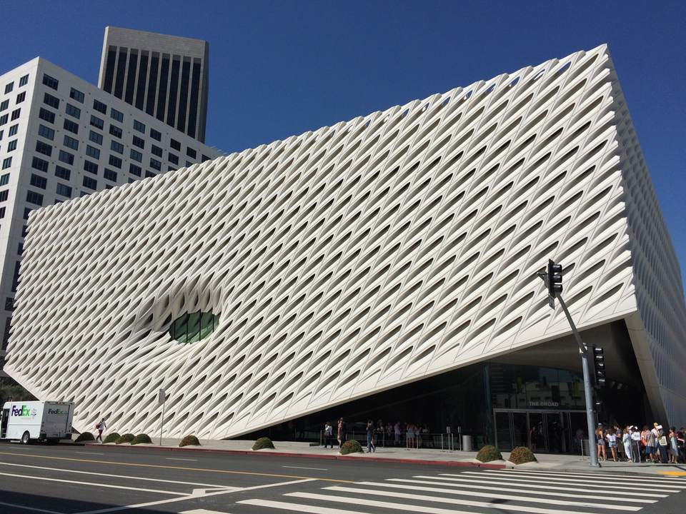 Exterior view of The Broad in Los Angeles, California.