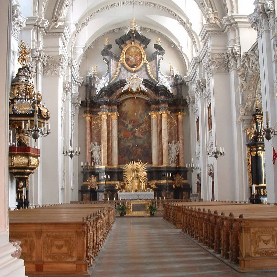 View of the altar and central aisle of St. Stephen's Cathedral in Passau, Germany