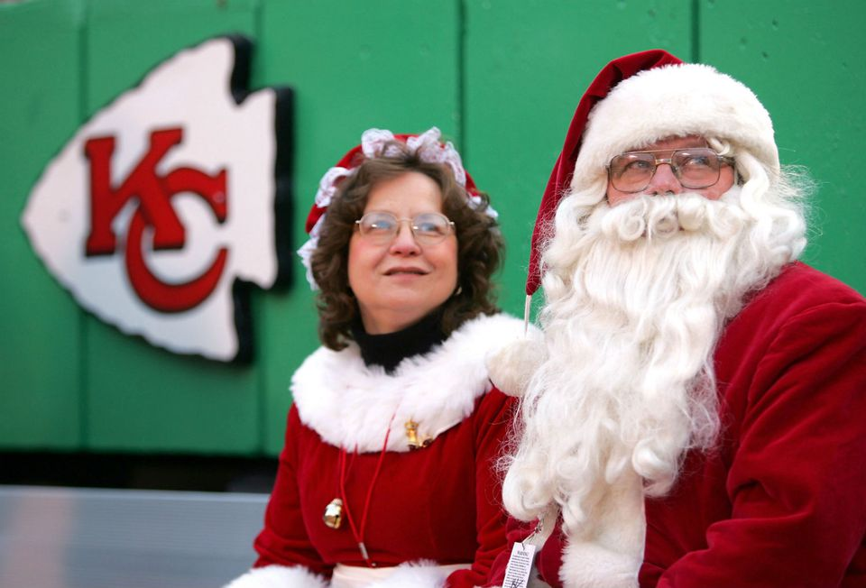 Santa and Mrs. Claus at a Chiefs game in Arrowhead Stadium