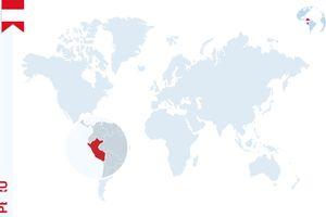 Peru on map of world