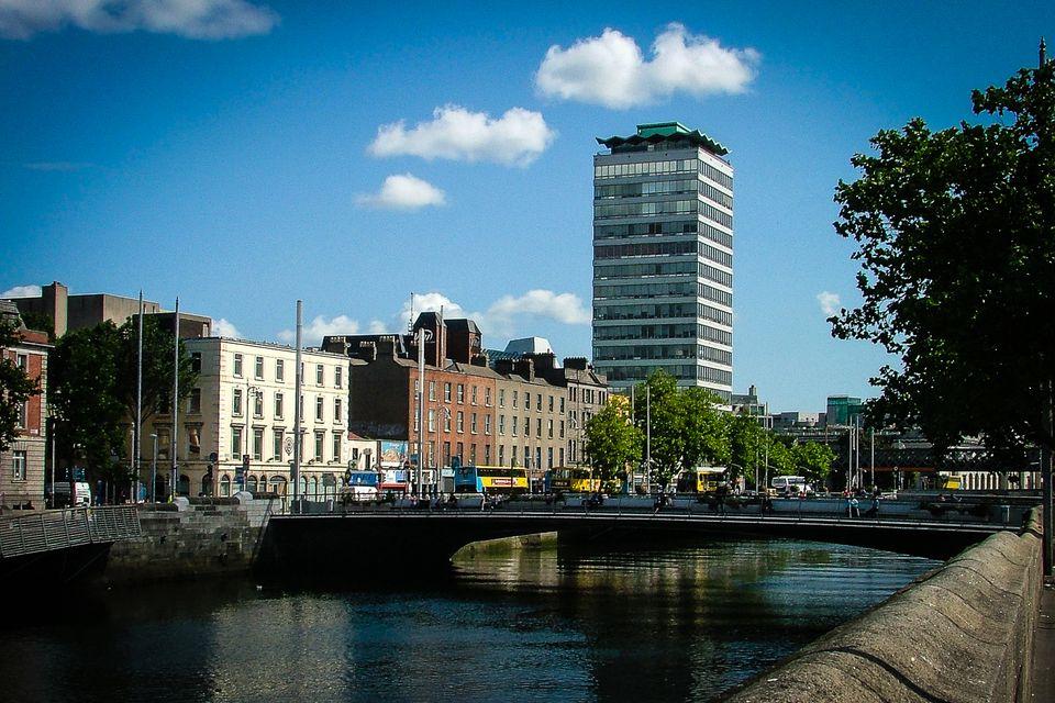 Dublin, Ireland city view over the river