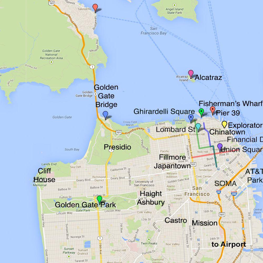 San Francisco's Por Tourist Areas on union square san francisco ca map, san francisco hotels civic center map, union square shopping map,