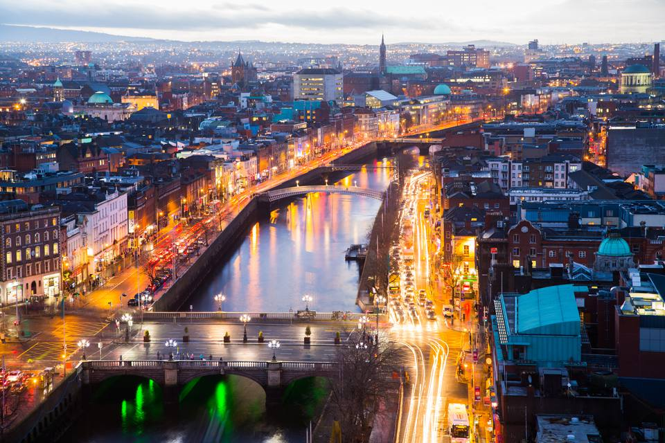 A viewpoint over O Connell Bridge and Dublin City