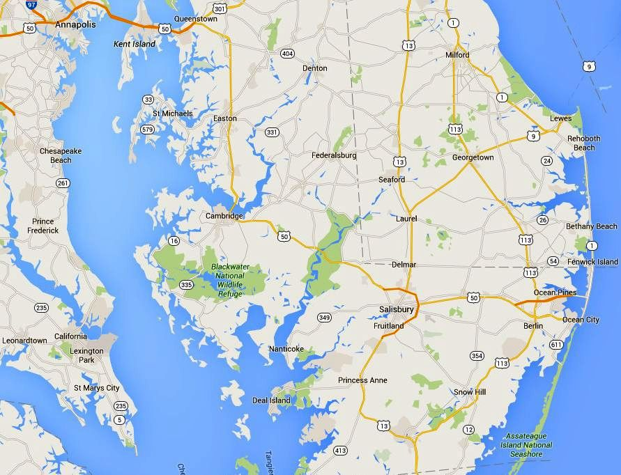 Chesapeake Bay On Map Of Usa.Maps And Directions To Maryland Eastern Shore Towns