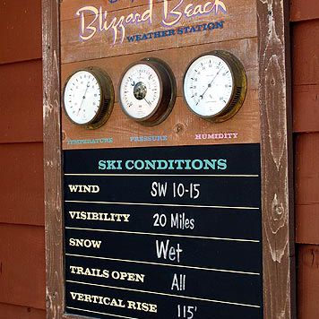 There are whimsical details throughout the park such as this ski conditions board.
