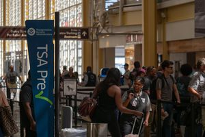 TSA Precheck and Global Entry line at security checkpoint at Reagan National Airport
