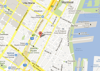 Map of InterContinental Hotel Montreal Location