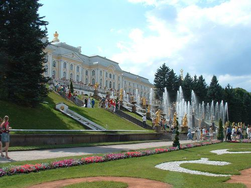 View of Peter the Great's Grand Palace and the Grand Cascade at Peterhof near St. Petersburg