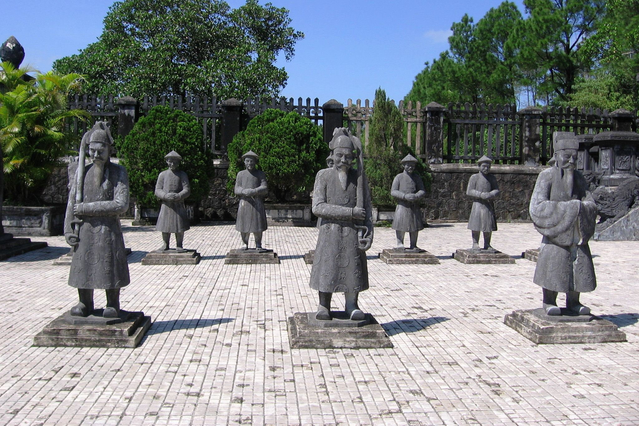Honor Guard of soldiers, forecourt, Khai Dinh Royal Tomb, Hue, Vietnam.
