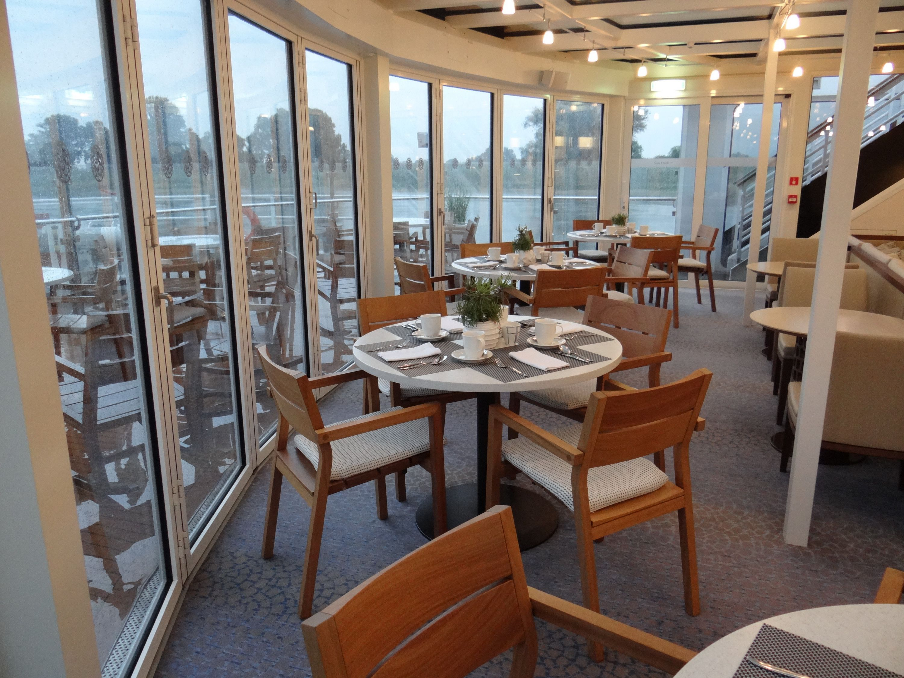 Forward lounge and Aquavit Terrace on the Viking Elbe River cruise ships