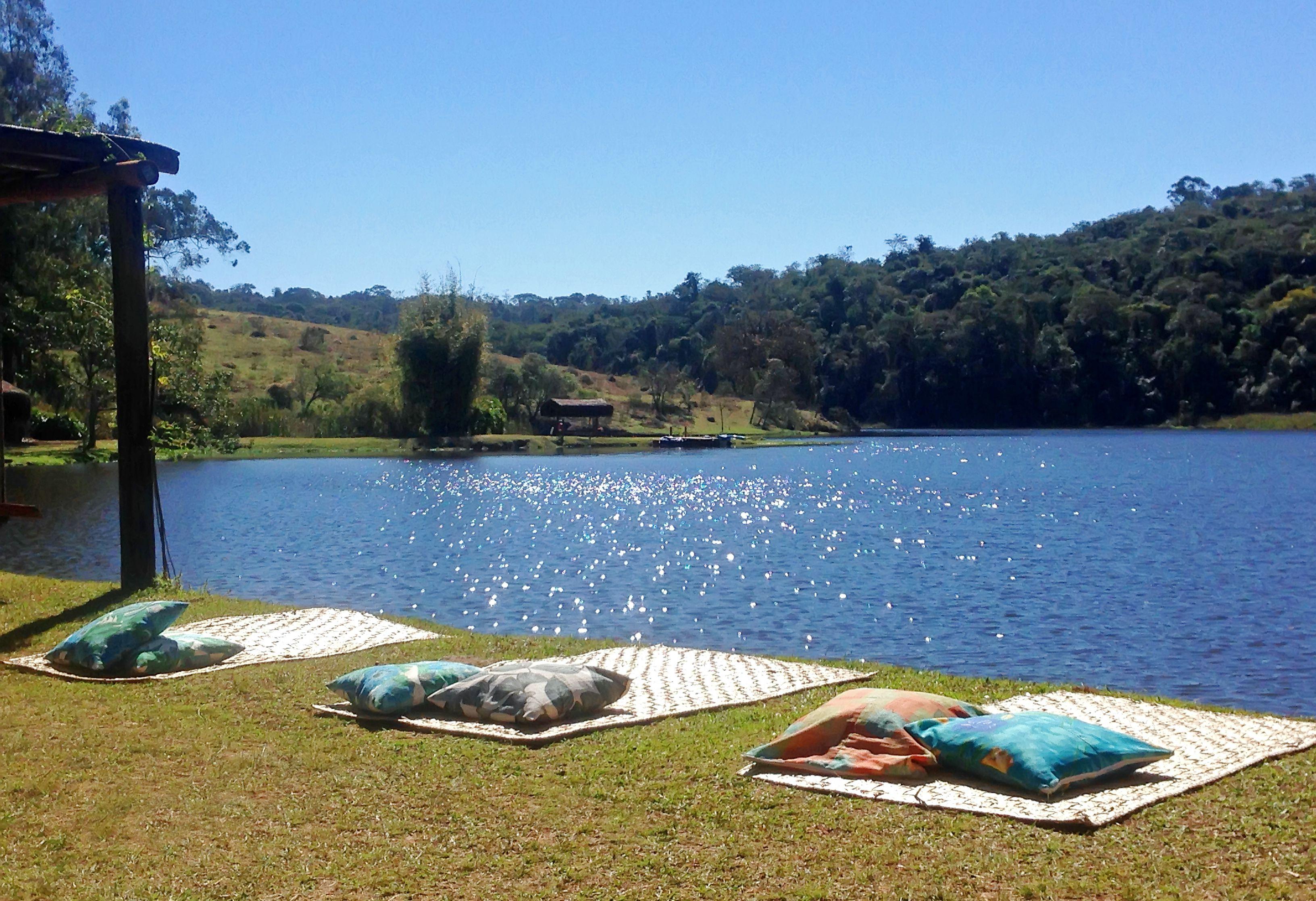 Landscape lake on a weekend