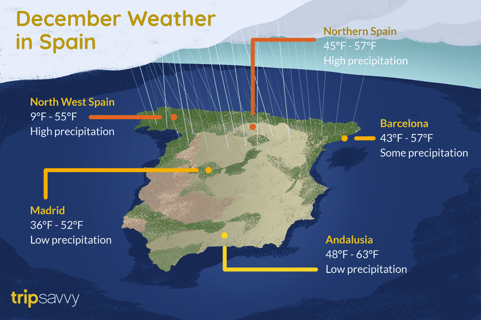 Weather Map Of Spain.Weather And Things To Do In Spain During December