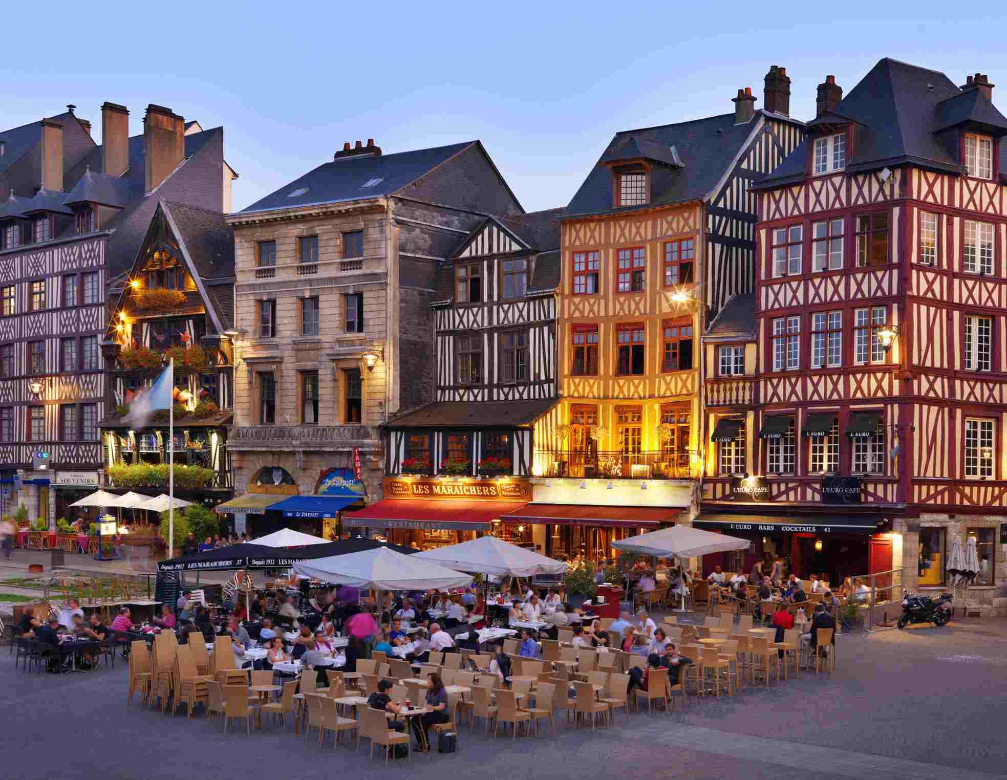 France, Normandy, Seine-Maritime, Rouen, Place du Vieux-Marche, Cafe scene at dusk