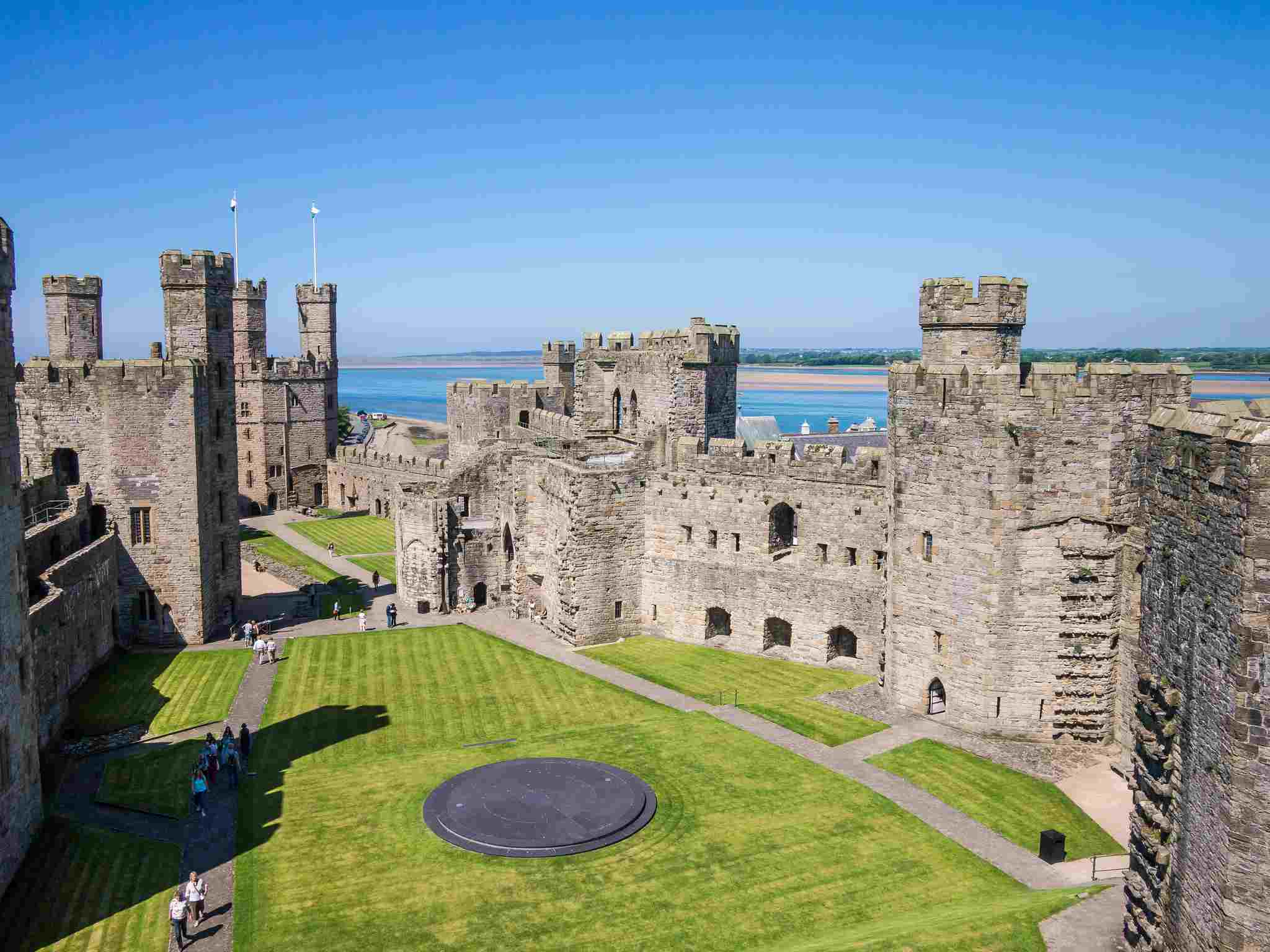 Caernarfon Castle and grounds seen from above