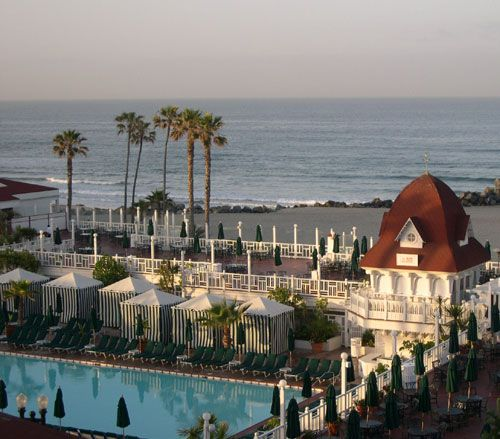 The beach and pool at the haunted Hotel del Coronado