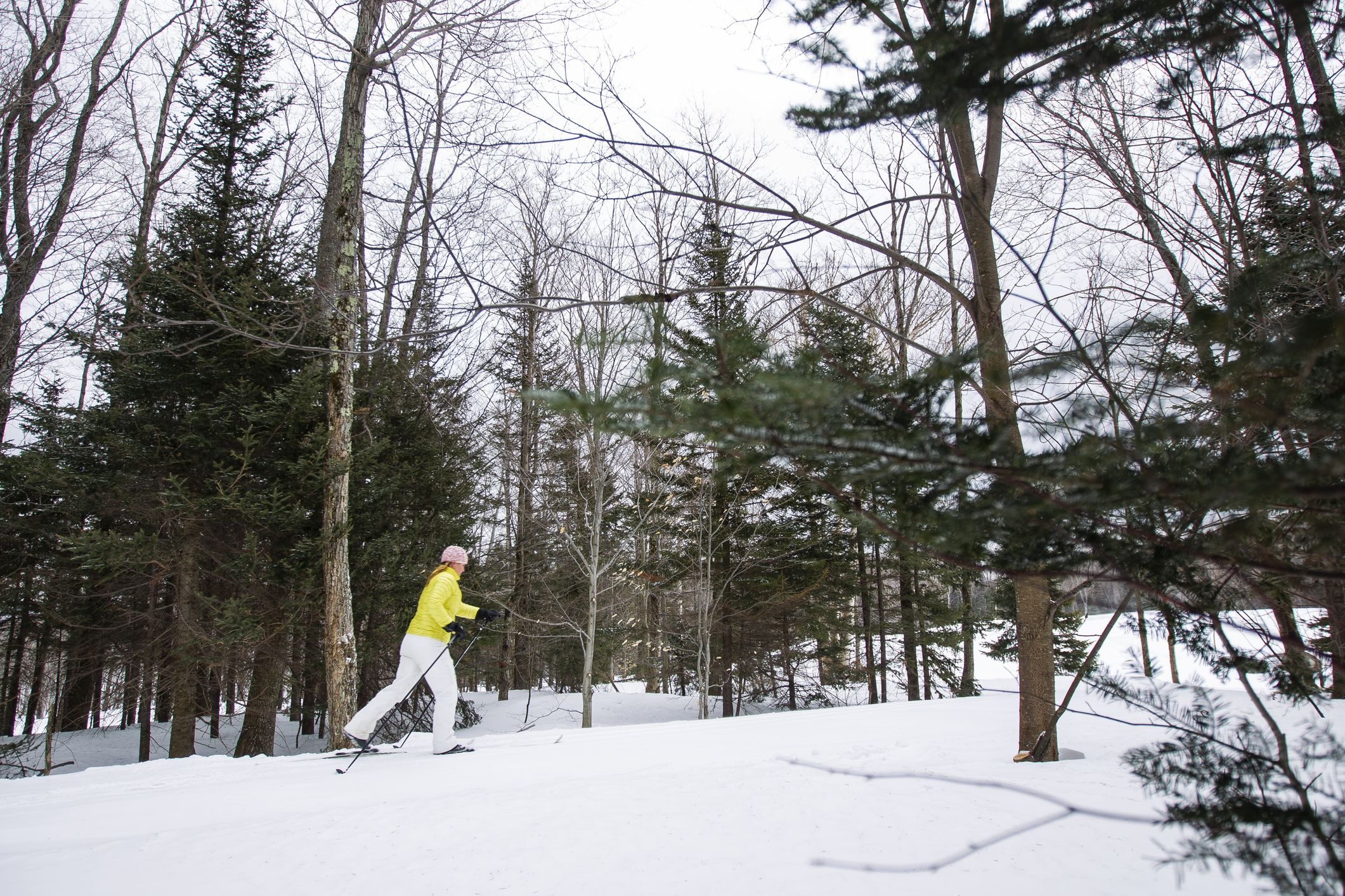 Woman Cross Country Skiing in Vermont