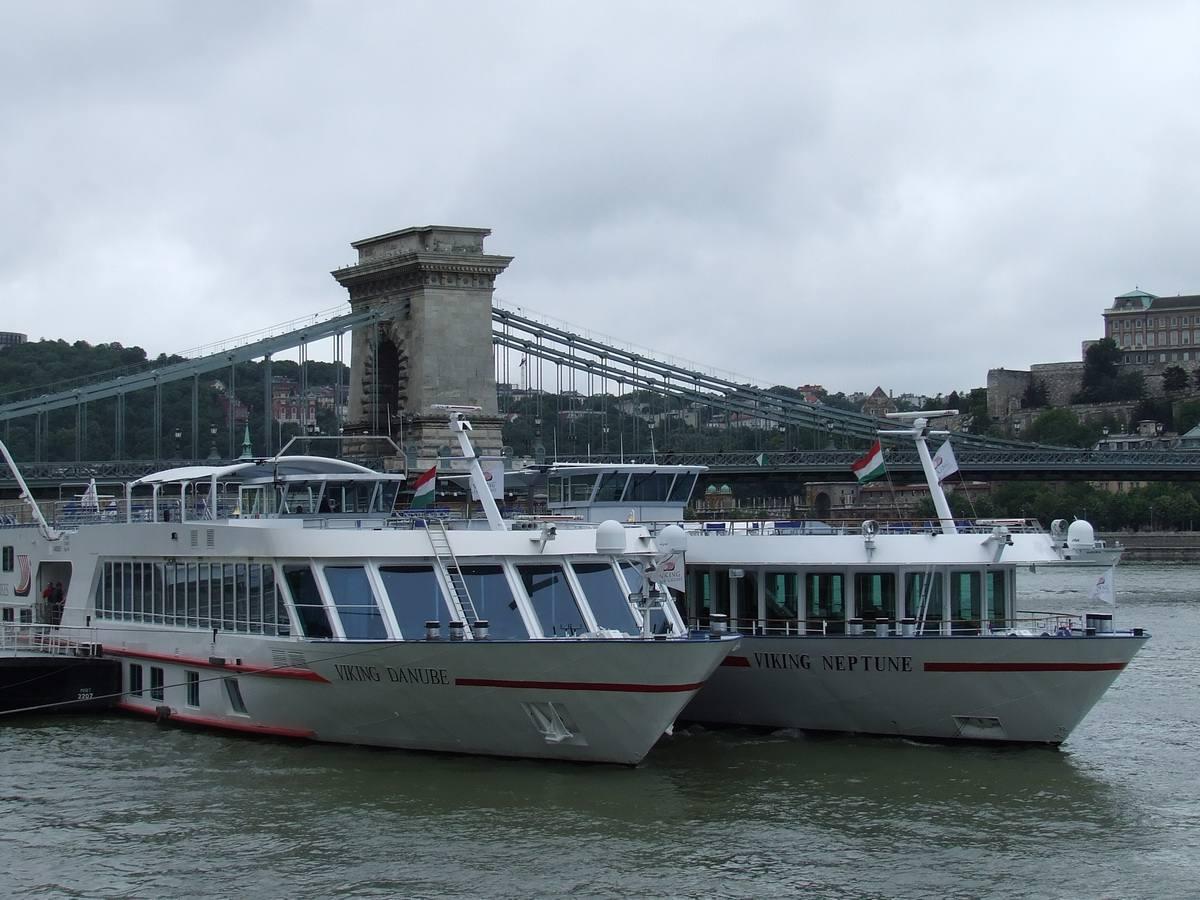 Viking Neptune and Viking Danube on the Danube River in Budapest