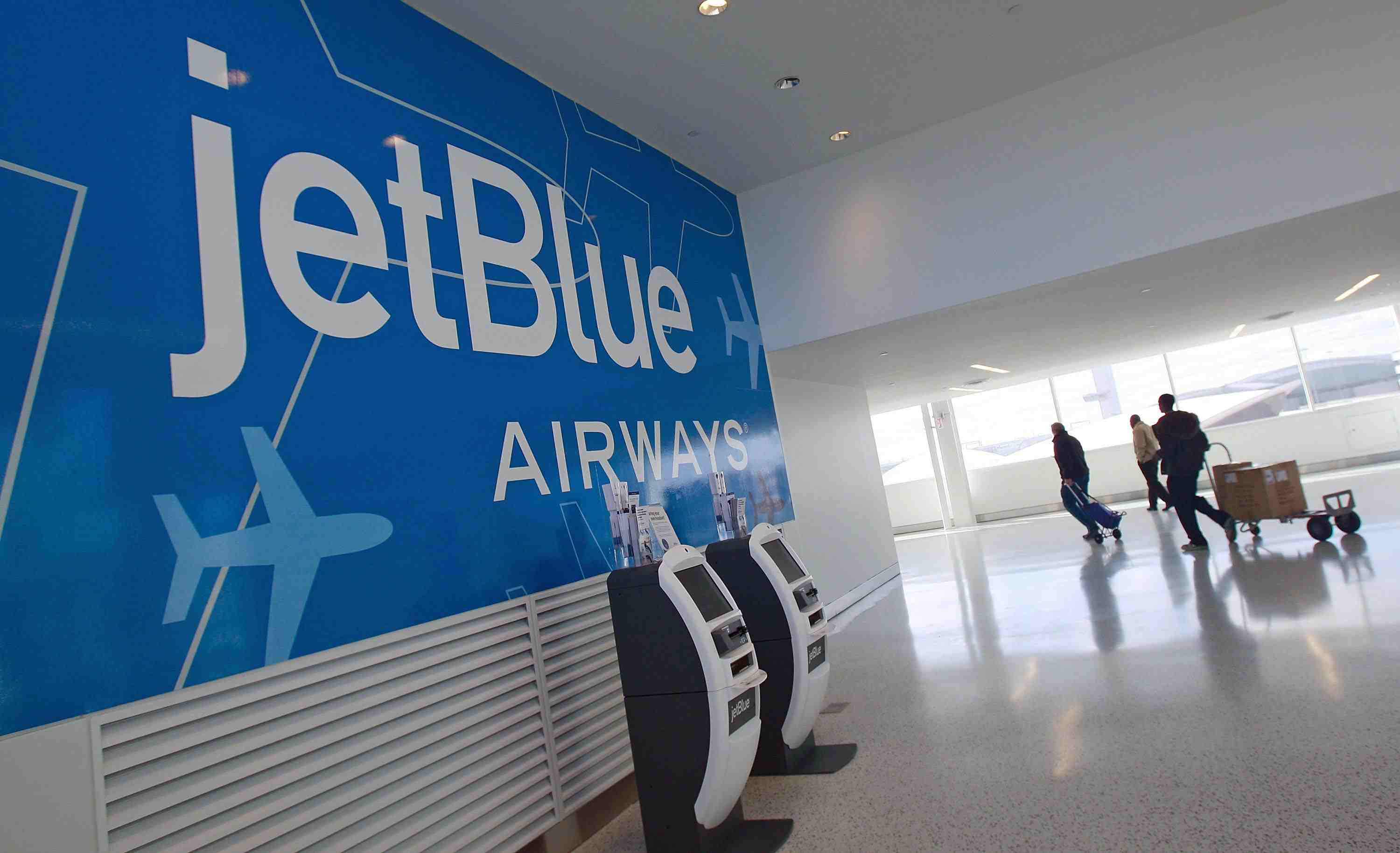 JetBlue signage at an airport