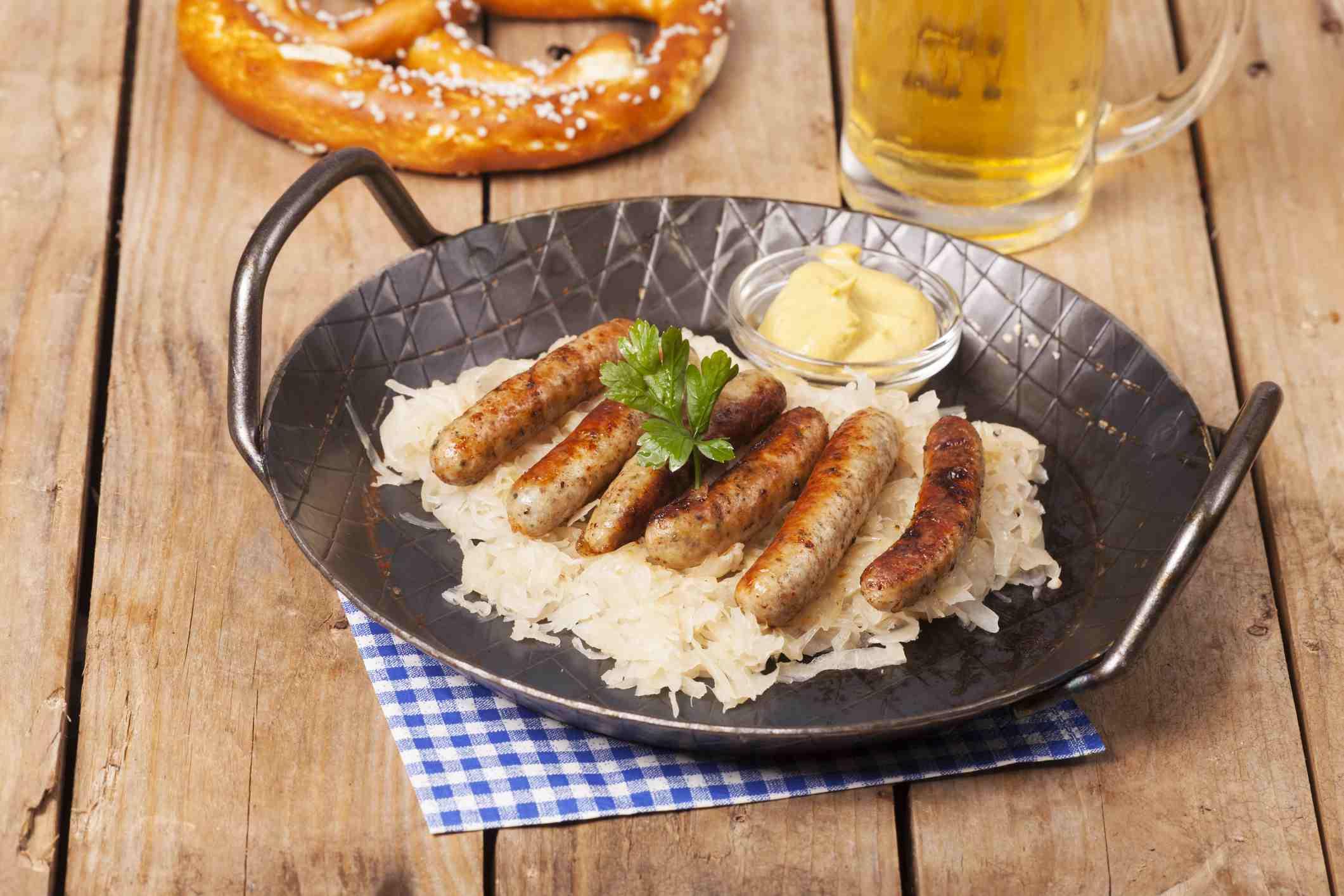 nuremberg sausage and pretzel