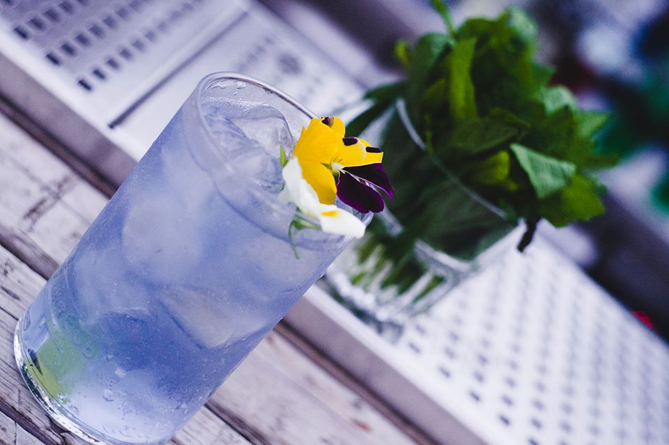 Light purple cocktail with a pansy as a garnish from Bios in Athens