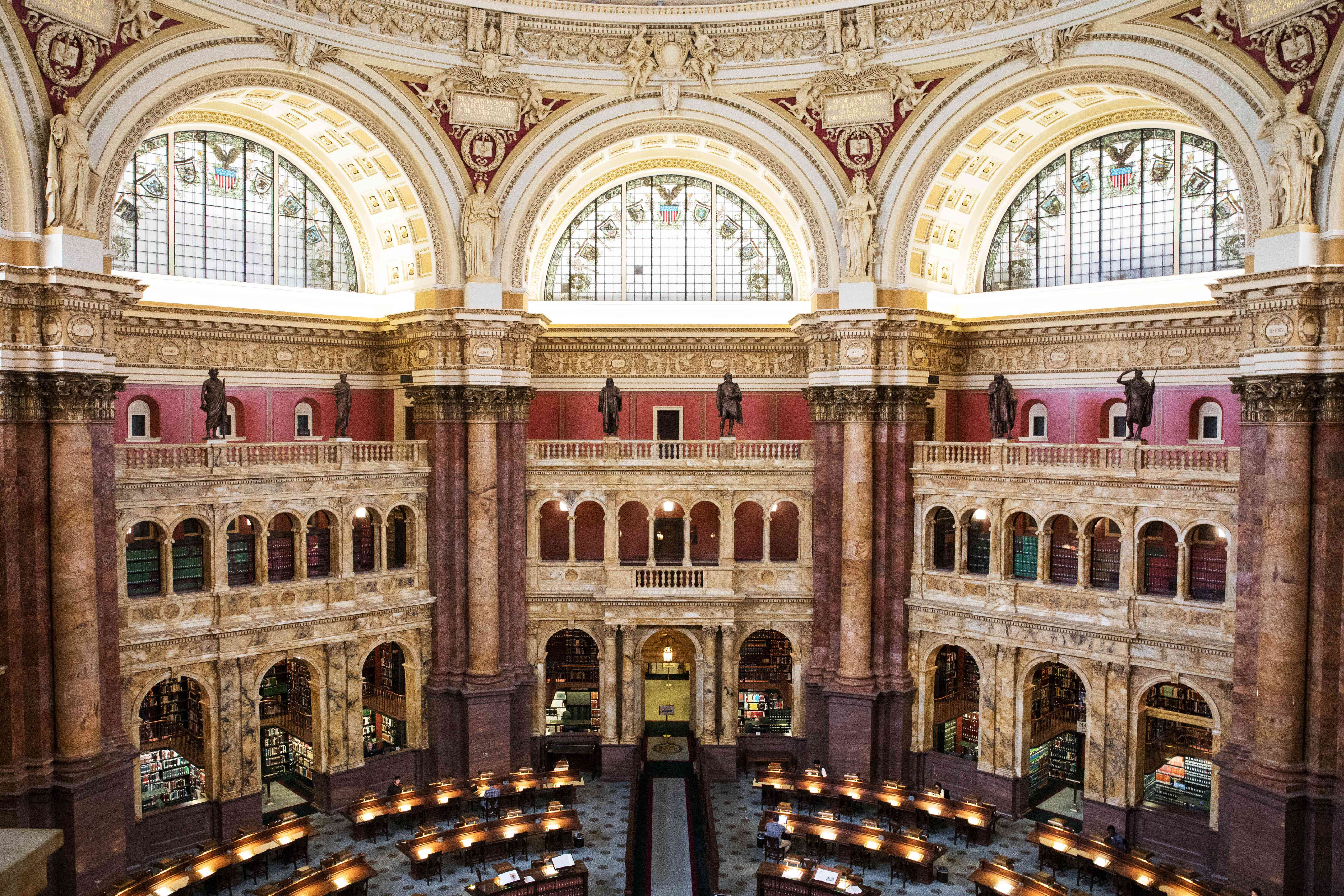 Main reading room in Library of Congress