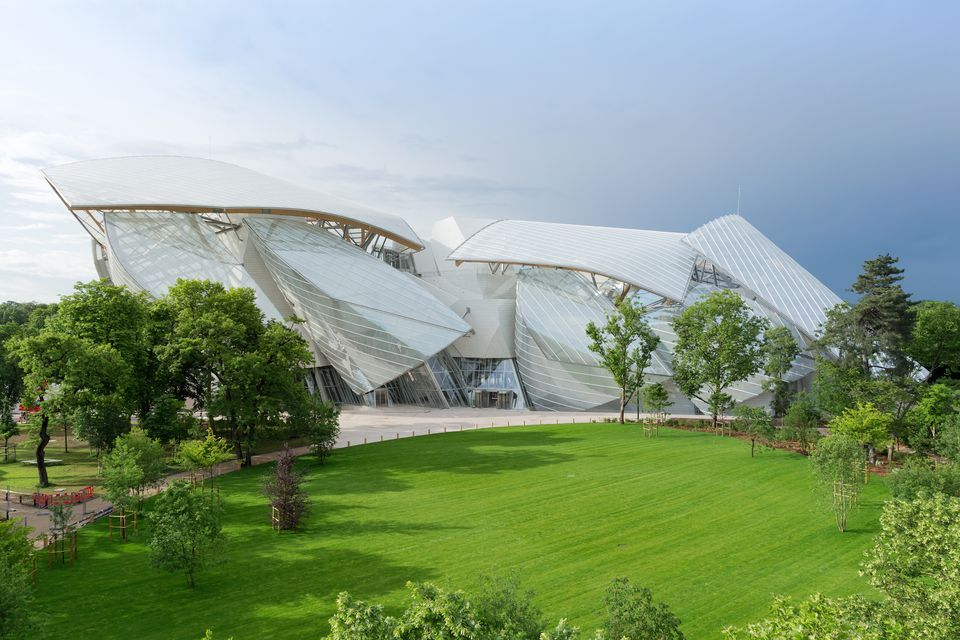 The Fondation Vuitton and its arresting facade by Frank Gehry.