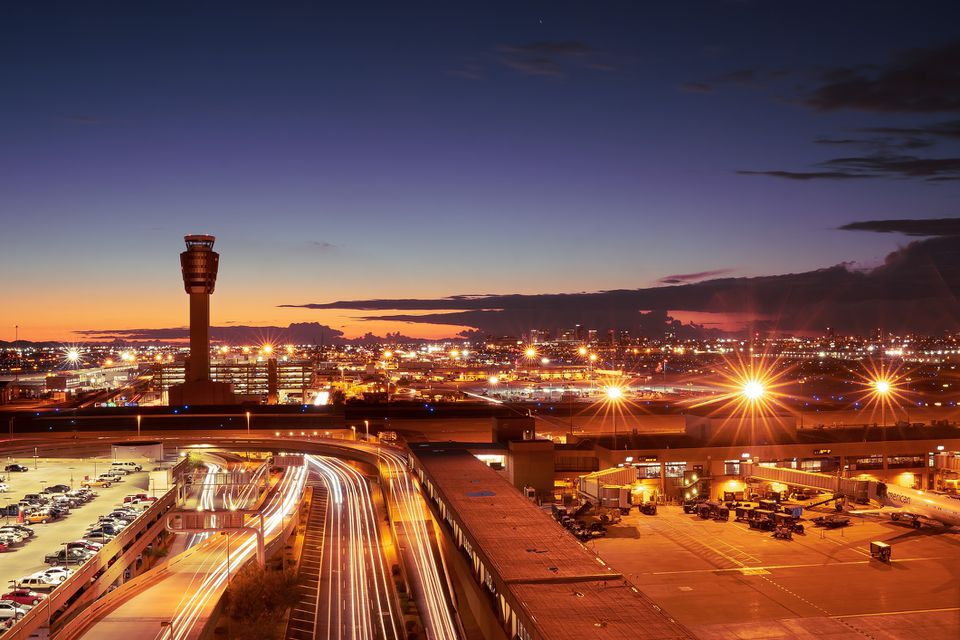 Phoenix Sky Harbor International Airport at sundown