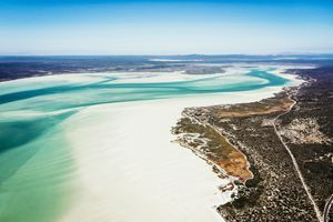 white sand and turquoise water of Langebaan Lagoon in West Coast National Park, South Africa
